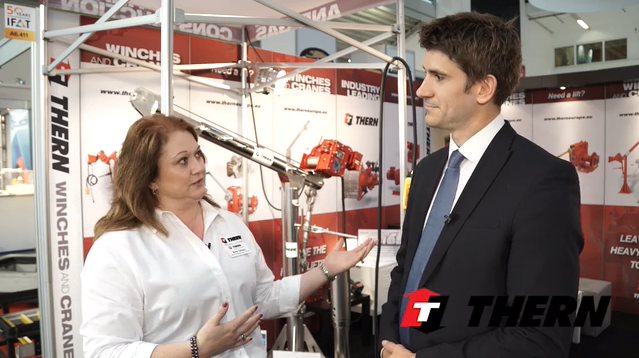 Tom Freyberg, Chief Editor, Water/Wastewater International Magazine, interviews Amy Oesau of Thern, Inc. during IFAT 2016, one of the world's leading trade fairs for the environment and waste disposal.