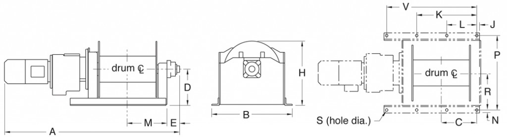 4HPF series winch dimensions diagrams