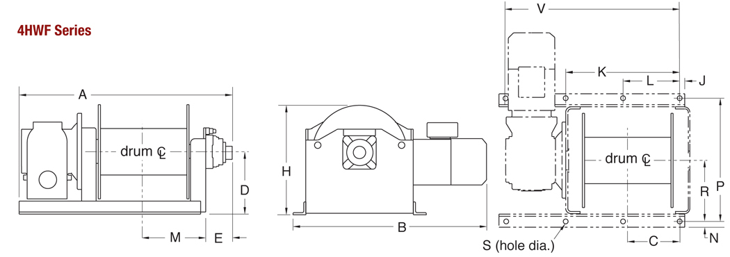 4HWF Series Winch Dimensions