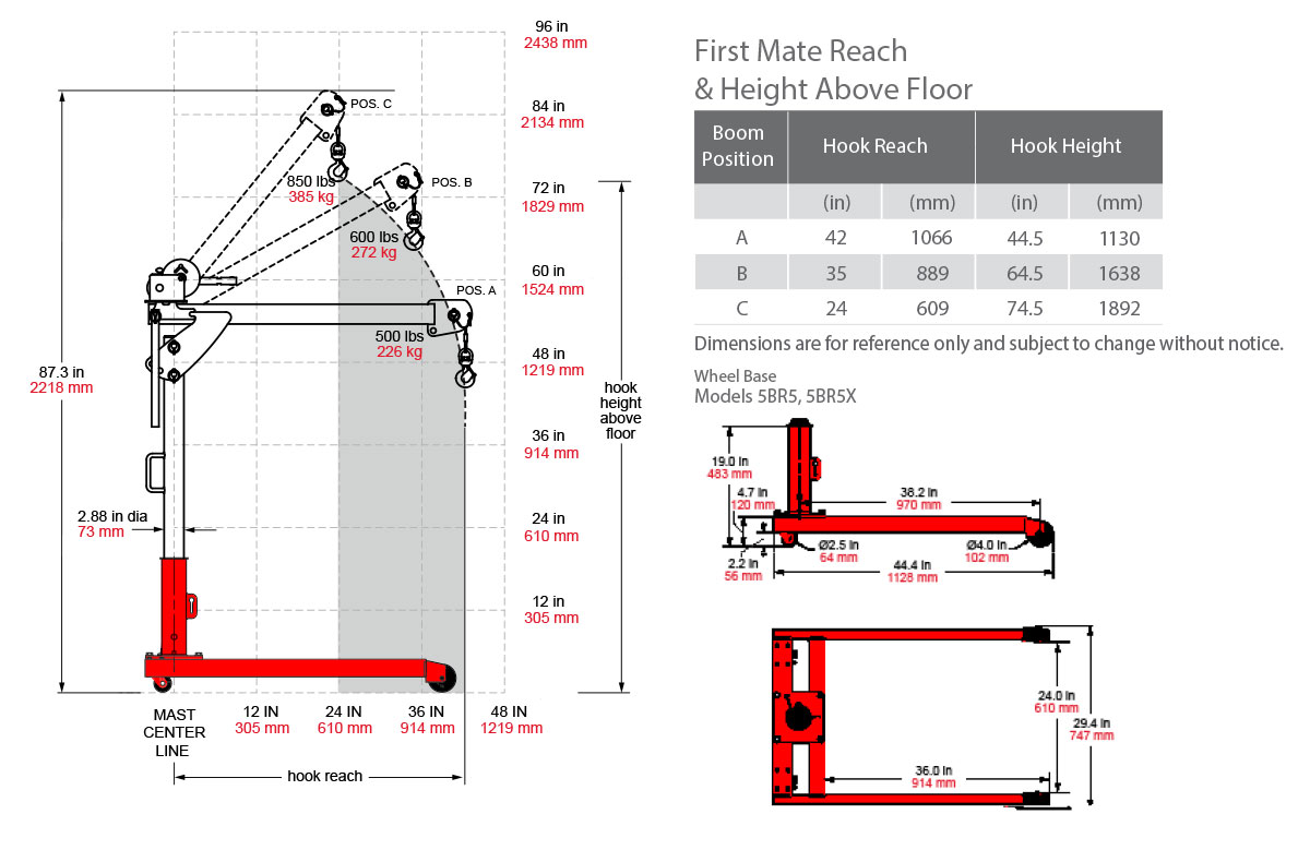 First Mate Series 5pf5 Thern Crane Schematic Dimensions With Roller Base