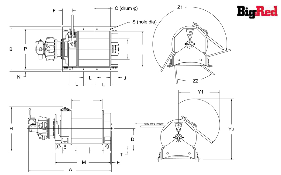 BR TA Series Winch Dimensions diagram
